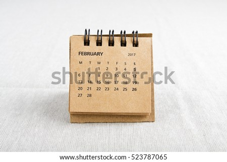 February. Calendar sheet. Two thousand seventeen year calendar on bright background.