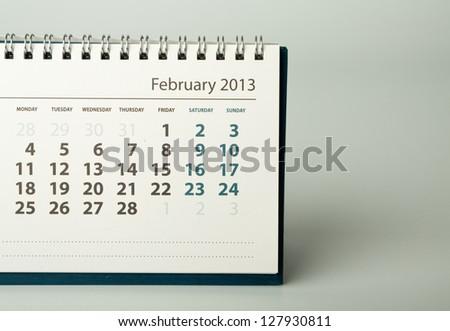February. Calendar sheet. 2013 year calendar - stock photo