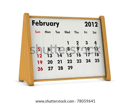 february 2012 elegant wooden calendar on white background (3d render)