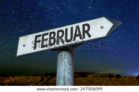 February (in German) sign with a beautiful night background - stock photo