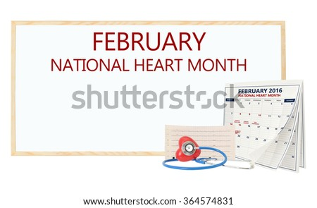 February National Heart Month White board Calendar pages turning Stethoscope on red heart with electrocardiograph isolated on white background - stock photo