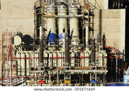 FEBRUARY 22, 2015 ; NONTHABURI - THAILAND : Construction of EGAT's North Bangkok gas combine cycle power plant 800 MW.