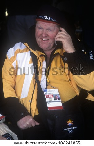 FEBRUARY 2005 - Official worker on telephone during 2002 Winter Olympics, Salt Lake City, UT - stock photo