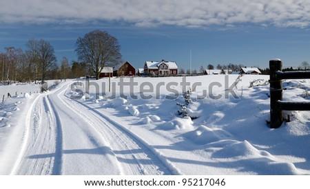 February panorama for Swedish village - stock photo
