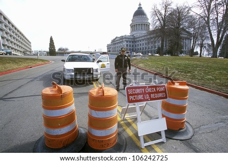 FEBRUARY 2005 - Roadblock security during 2002 Winter Olympics, Salt Lake City, UT - stock photo