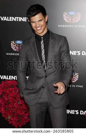 "February 8, 2010. Taylor Lautner at the Los Angeles premiere of ""Valentine's Day"" held at the Grauman's Chinese Theater, Hollywood.  - stock photo"