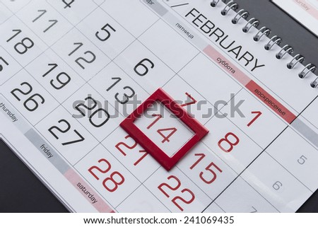 February 14th on a calendar as a background - stock photo