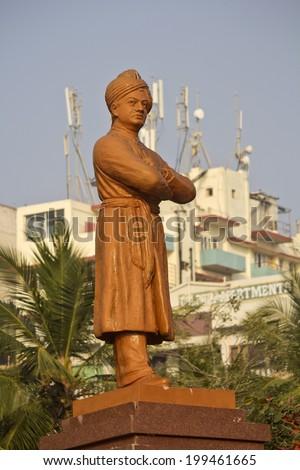 FEBRUARY 13, VISHAKHAPATNAM, ANDHRA PRADESH, INDIA - Monument of Swami Vivekananda close to Ramakrishna mission.  Vivekananda (1863-1902) was the famous philosopher, preacher, wandering monk - stock photo
