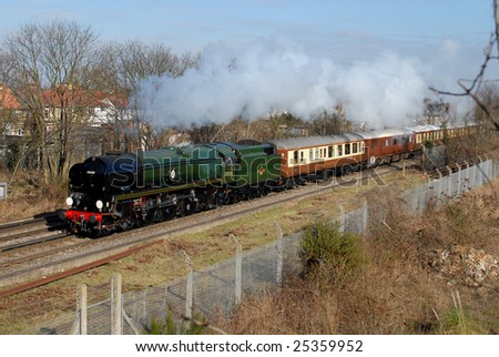 February 21, 2009 VSOE Northern Belle charter train Approaching Feltham, West London. UK. Steam Locomotive 35028 Clan Line at the helm.