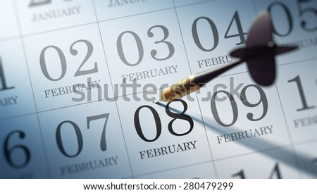 February 08 written on a calendar to remind you an important appointment.