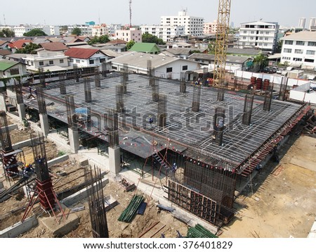 FEBUARY 4, 2016 : NONTHABURI - THAILAND : Under-construction of concrete building for car parking at Electricity generating authority of Thailand, Nonthaburi