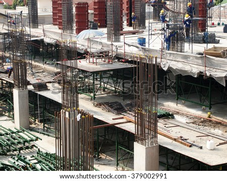 FEBUARY 19, 2016 : NONTHABURI - THAILAND : Under-construction of concrete building for car parking at Electricity generating authority of Thailand, Nonthaburi
