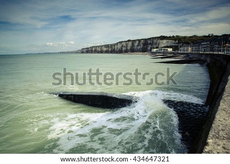 FECAMP, FRANCE - OCTOBER 2, 2012: Town and Ships in Port at Fecamp Normandy France - stock photo