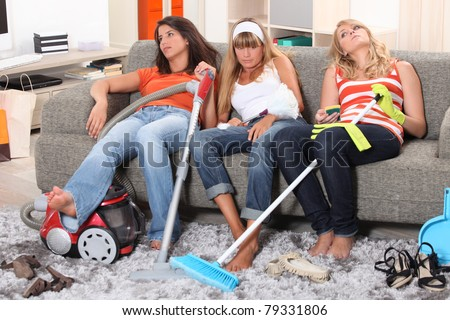Fed up of housework - stock photo