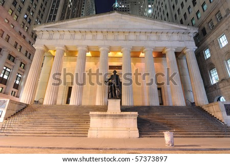 Federal Hall at night, the first capitol of the United States of America and place of President George Washington's inauguration. New York City. - stock photo
