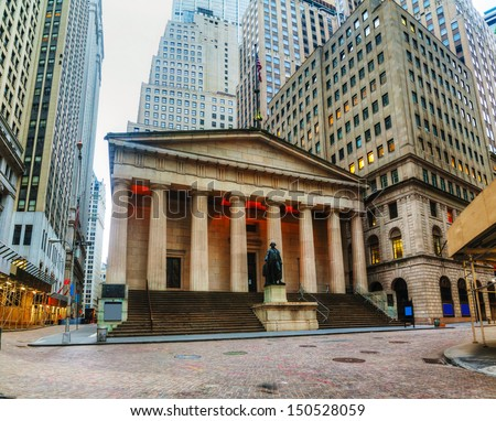 Federal Hall National Memorial on Wall Street in New York in the morning - stock photo