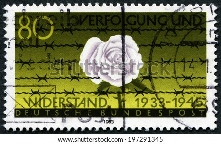 FEDERAL REPUBLIC OF GERMANY - CIRCA 1983: A stamp printed in the Federal Republic of Germany shows Rose and thorns, resistance (1933-1945), circa 1983 - stock photo