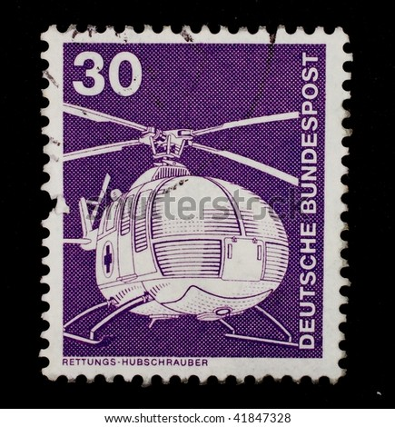 FEDERAL REPUBLIC OF GERMANY - CIRCA 1979: A stamp printed in the Federal Republic of Germany shows image of a helicopter, series, circa 1979