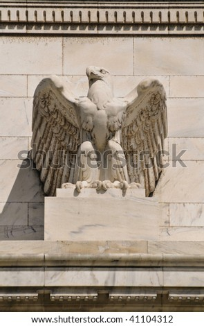 Federal reserve building eagle in Washington DC - stock photo