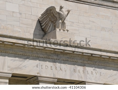 Federal reserve building in washington DC with eagle - stock photo