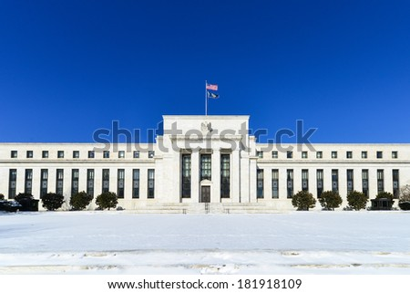 Federal Reserve Building in Winter - Washington DC, United States  - stock photo