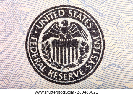 Federal Reserve icon on a fifty dollar bill. - stock photo