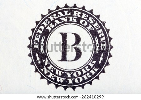Federal Reserve System sign on one U.S. dollar bill. - stock photo