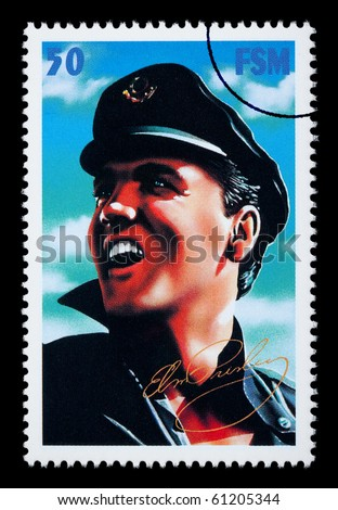 FEDERATED STATES MICRONESIA - CIRCA 2000: A postage stamp printed in FSM showing Elvis Presley, circa 2000 - stock photo