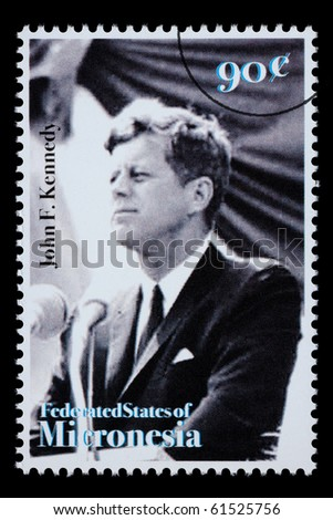 FEDERATED STATES MICRONESIA - CIRCA 1990: A postage stamp printed in FSM showing John F. Kennedy, circa 1990 - stock photo