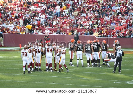 Fedex Field, Washington DC - October 19: Washington Redskins defeating Cleveland Browns 14-11 during a football game on October 19, 2008