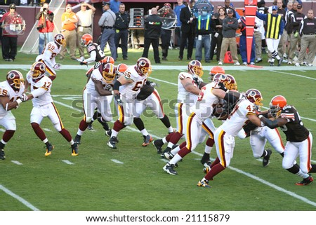 Fedex Field, Washington DC - October 19: Washington Redskins defeating Cleveland Browns 14-11 during a football game on October 19, 2008 - stock photo