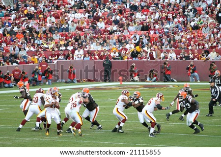Fedex Field, Washington DC- October 19: Washington Redskins defeating Cleveland Browns 14-11 during a football game on October 19, 2008 - stock photo