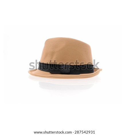 fedora hat isolated on white - stock photo