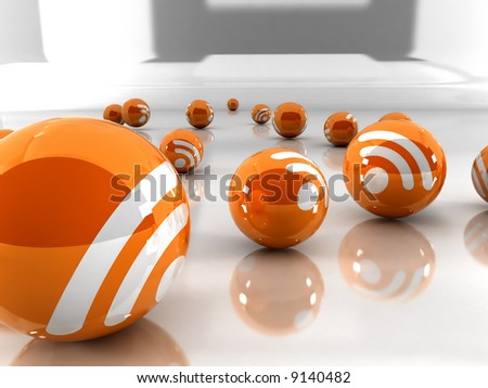Feed or Rss icon, used in  internet transmition and  association with open web syndication formats such as RSS and Atom. 3D with reflect. - stock photo