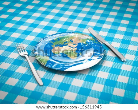 feed the world plate fork and knife Elements of this image furnished by NASA - stock photo