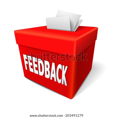feedback box words on the red box for collecting employee or customer ideas, thoughts, comments, reviews, ratings, suggestions or other communication or information - stock photo