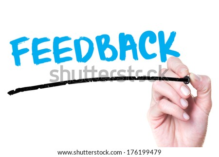 Feedback. Businesswoman writing feedback on glass, concept - stock photo