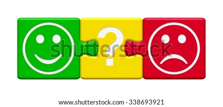 Feedback Buttons green yellow and red - What do you think? - stock photo
