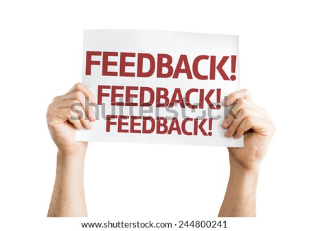Feedback card isolated on white background - stock photo