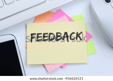 Feedback contact customer service opinion survey business concept review desk computer keyboard - stock photo