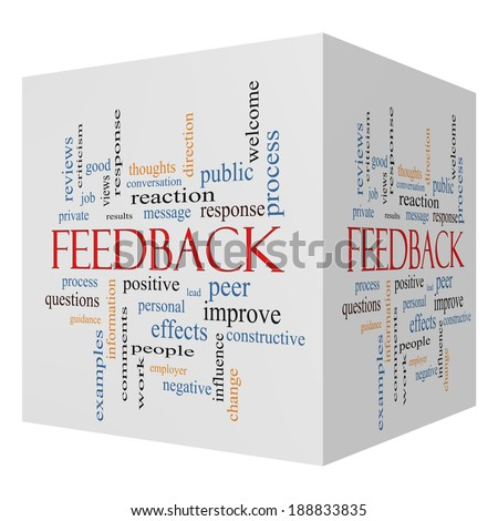 Feedback 3D cube Word Cloud Concept with great terms such as results, positive, improve and more. - stock photo