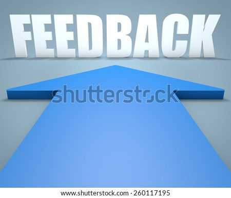 Feedback - 3d render concept of blue arrow pointing to text. - stock photo