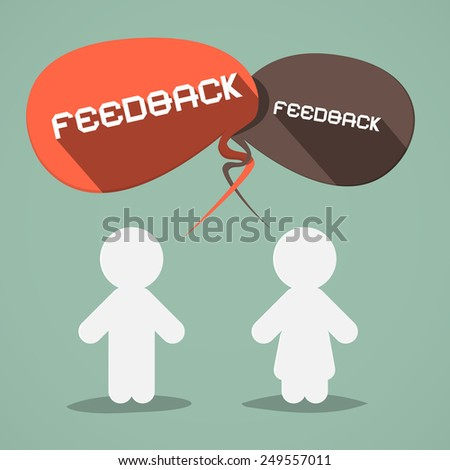 Feedback Flat Design Symbol with Paper People - stock photo