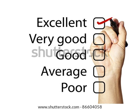 Feedback form with excellent score - stock photo