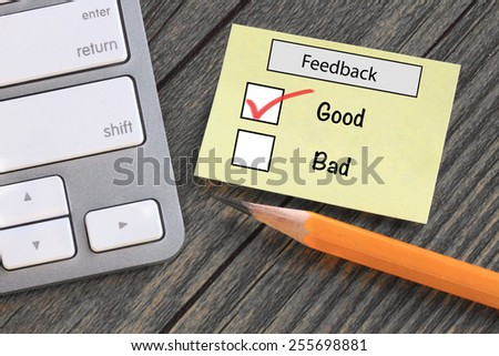 feedback in customer survey, showing good experience - stock photo
