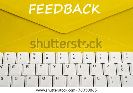 Feedback message on envelope - stock photo