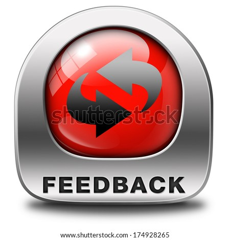 feedback or testimonials red icon or button. Publical comments for improvement and customer satisfaction - stock photo