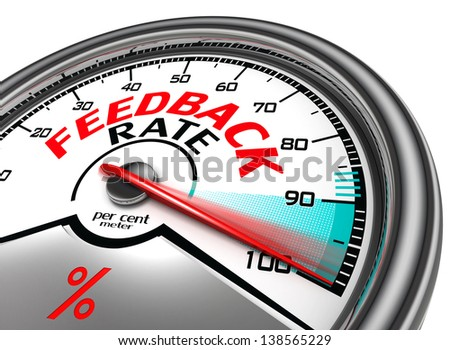 feedback rate meter indicate hundred per cent, isolated on white background - stock photo