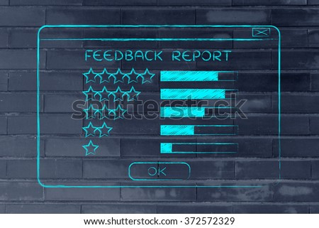 feedback report: pop-up window with star rating and results