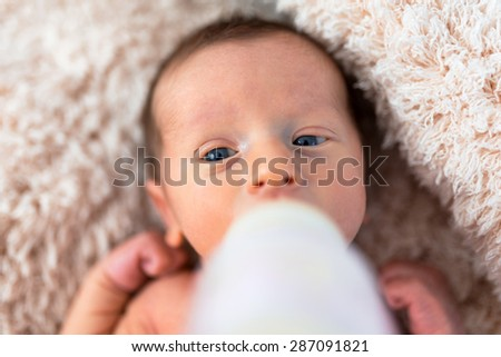 Feeding baby boy with milk from the bottle - stock photo